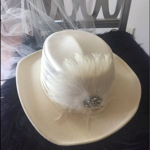 Western style cowboy wedding hat with train